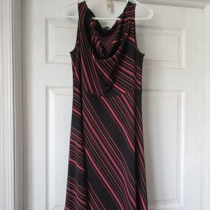Express Diagonal Pinstripe Pink Black Cowl Dress